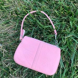 Pink leather Coach Wristlet